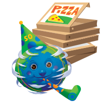 Illustration of globe with pizza boxes