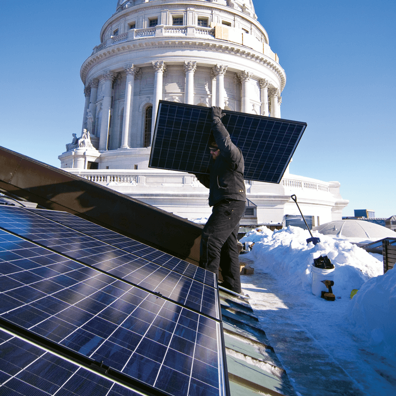 Installing solar panels at the state capitol