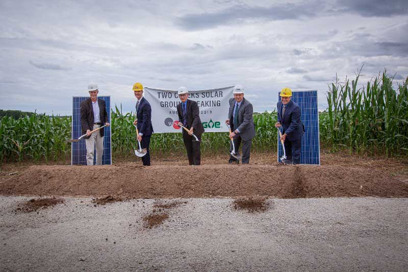 Groundbreaking at Two Creeks Solar farm in August 2019.