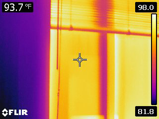 Thermal image of a double-pane window.