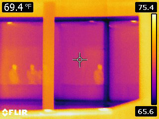 Thermal image of window in the shade.