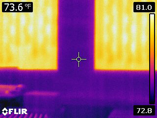 Thermal image showing how nonglass materials are affected by solar energy.