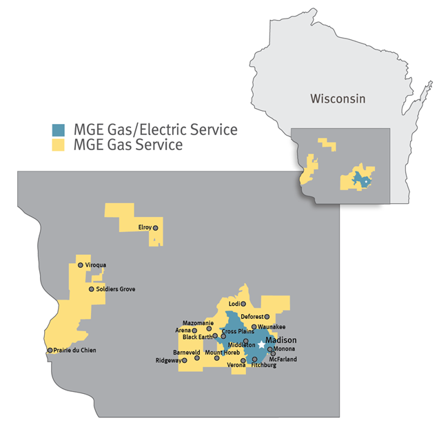 MGE's gas and electric service territory.