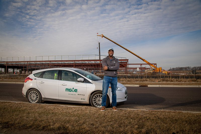 Jimmy Rogers, Electrical Engineer for MGE, visits job sites with MGE's all-electric Ford Focus.